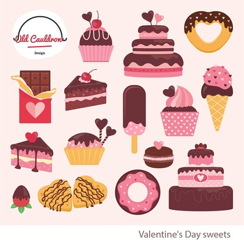 Valentine's day cakes, heart clipart, cupcake image, vecto