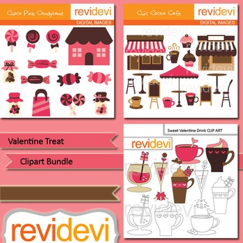 Valentine's day clip art: Valentine Treat Clipart Bundle (3 packs)