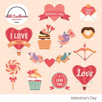 Valentine's day clipart, heart clipart, valentines image, vector clipart CL009