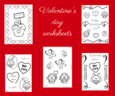 Valentine's day colour worksheets
