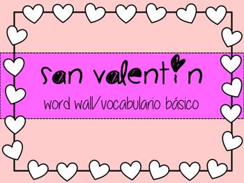 Valentine's day spanish word wall