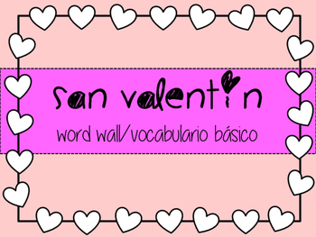 Valentine's day spanish word wall