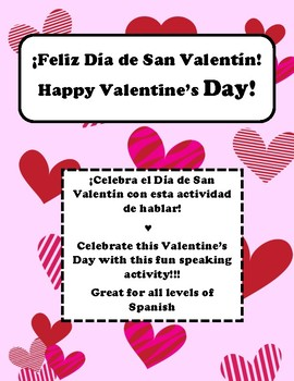 Valentine's day speaking activity for Spanish class