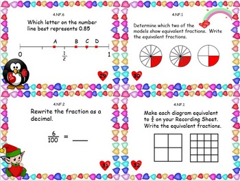 Valentine's Common Core Fractions Task Cards Grade 4