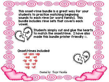 Valentine's heart onset/rime bundle