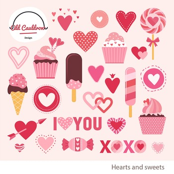 Valentine's sweets clipart, valentines day clipart,vector