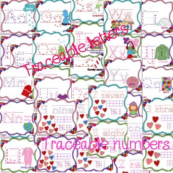 Valentine's traceable letters and numbers
