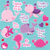 Valentine sea animals clipart commercial use, vector graphics  - CL1055