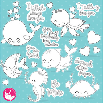Valentine sea animals stamps,  commercial use, vector graphics, images  - DS1055