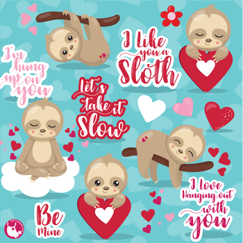 Valentine sloth clipart commercial use, vector graphics  - CL1125