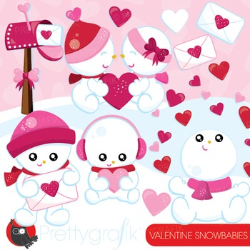 Valentine snowbabies clipart commercial use, vector graphi