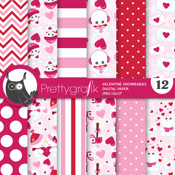 Valentine snowman papers, commercial use, scrapbook papers, - PS779