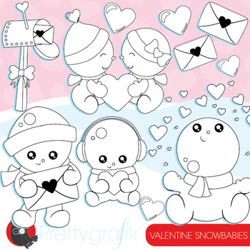 Valentine snowmen stamps commercial use, vector graphics, images  - DS942