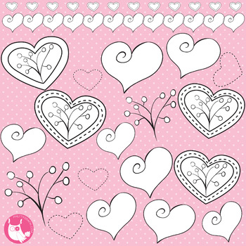 Valentine stamps, black lines, commercial use, vector graphics, images  - DS318