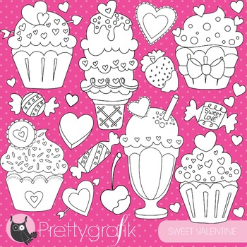 Valentine sweets stamps commercial use, vector graphics, images - DS797
