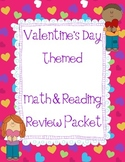 Valentine theme 1st/2nd Math & Reading Review Packet verbs, nouns, place value