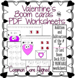 Valentine themed Addition/Subtraction to the number 2 BOOM DECK plus PRINTABLES