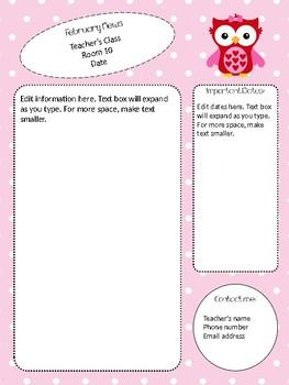 Valentine Themed February Newsletter Template