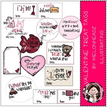 Valentine treat tags clip  art - COMBO PACK- by Melonheadz