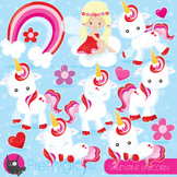 Valentine unicorn clipart commercial use, vector graphics, digital - CL938