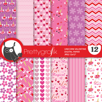 Valentine unicorn papers, commercial use, scrapbook papers - PS975