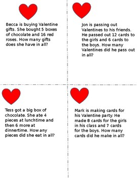 Valentine word problems (simple addition and subtraction)