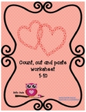 Valentine worksheet - Count, cut and paste 1-10 - #Teacher