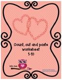Valentine worksheet - Count, cut and paste 1-10 - #Teacher