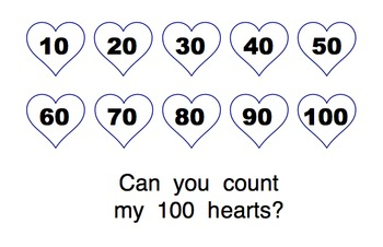 Valentine/100 Day 100 Hearts Sight Word Reader BW & Color