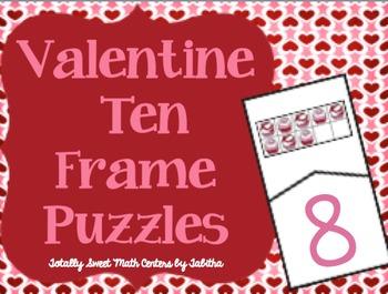 ValentineTen Frame Self-Checking Puzzles