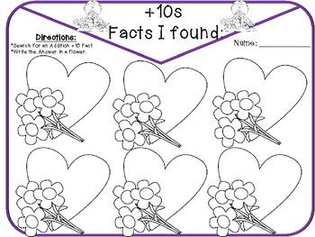 Valentine's +10 Addition fact seek