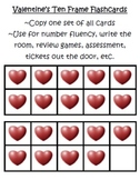 Valentine's 10 Frame Flashcards ~ Common Core ~ Hearts Ten Frame
