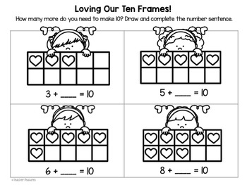 Valentine's Day Ten Frames- 20 Cards plus Worksheets