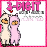 Valentines 3 Digit Addition and Subtraction Color-By-Number