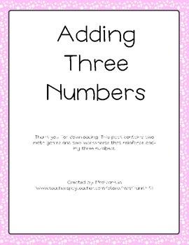 Valentines Adding Three Numbers