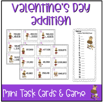 Valentine's Day Mini Task Cards: Addition
