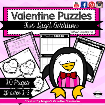 Valentines Addition Puzzles (two digit addition without regrouping)