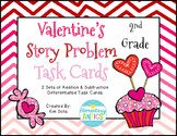 Valentine's Addition & Subtraction Word Problem Task Cards