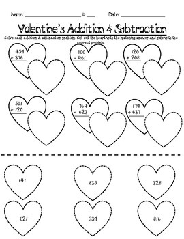 Valentine's Addition & Subtraction (Triple Digit with Regrouping)