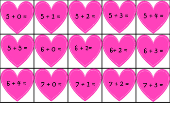 Valentines: Addition and Subtraction Facts
