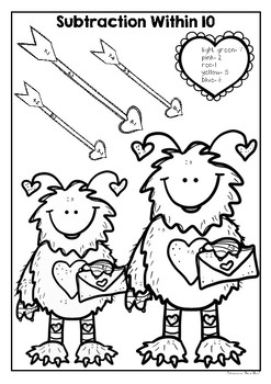 Valentines Addition and Subtraction to 10- Color your Answer