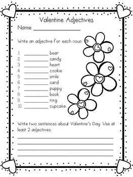 Valentine's Adjective FREEBIE!