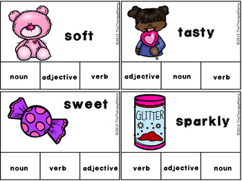 Valentines Adjective, Noun and Verb Task Cards