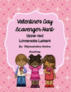 Valentine's Alphabet Scavenger Hunt: Upper and Lowercase, Center & Printables