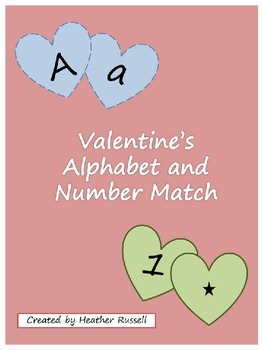 Valentine's Alphabet and Number Match