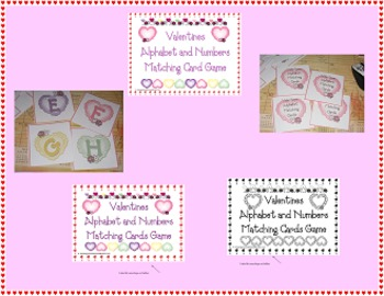 Valentines Alphabet and Numbers Matching Card Game (Common Core)