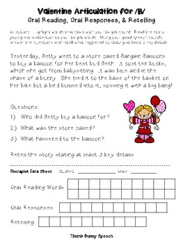 Valentines Articulation for Oral Reading, Oral Responses & Retelling