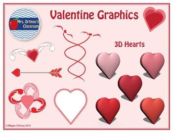 Valentine's Backgrounds, Frames, and Clip-Art Bundle