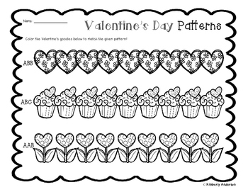 Valentine's Basic Patterns Coloring Practice