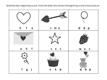 Valentines Bear Math and Reading Packet
